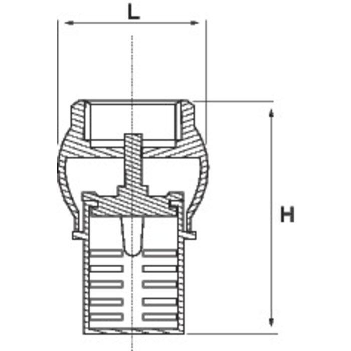 Clapet de pied de crépine vertical - Laiton-1