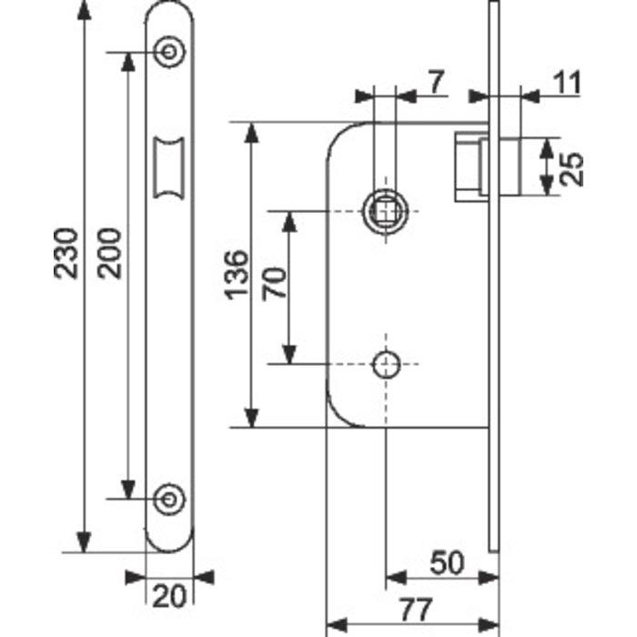 Serrure à larder standard Multibat - Bouts ronds - Axe 50 mm-1