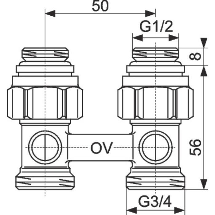 Raccord d'arrêt de radiateur ZB Multiflex - Droit-2