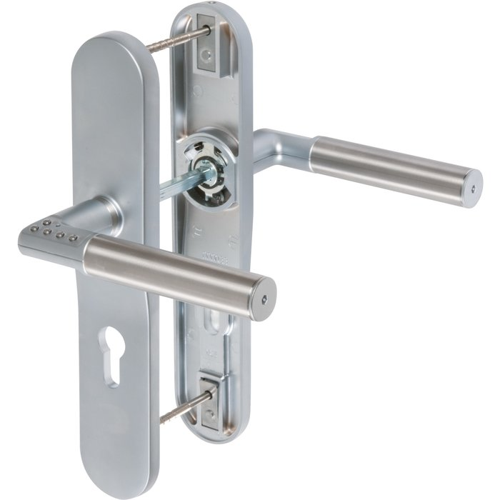 Ensemble béquille sur plaque Code-it - Double - Inox-1