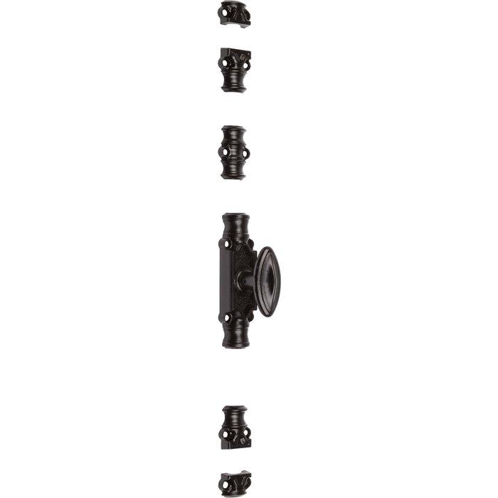 Crémone de fenêtre légère type RY 16 - À bouton - Époxy noir - Longueur 128 mm