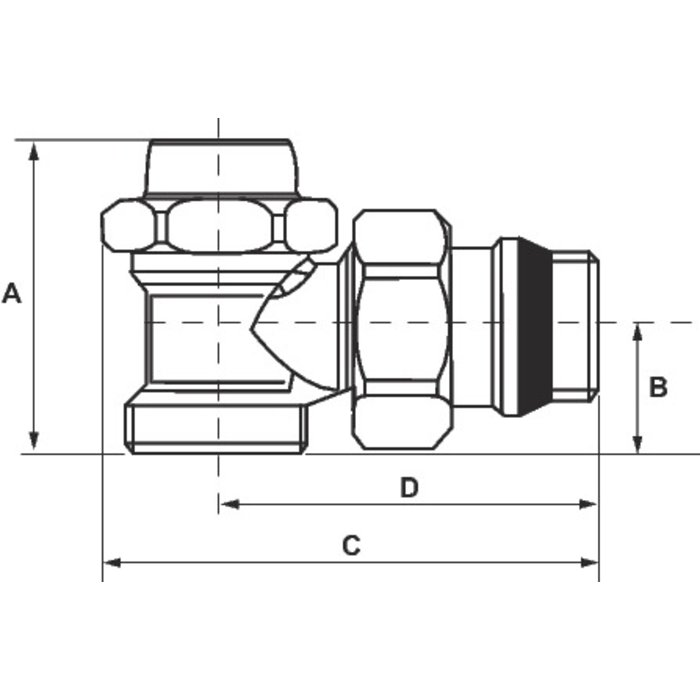 """Coude de réglage pour radiateur Alésage R29 TG - Mâle - Filetage 1/2""""-1"""