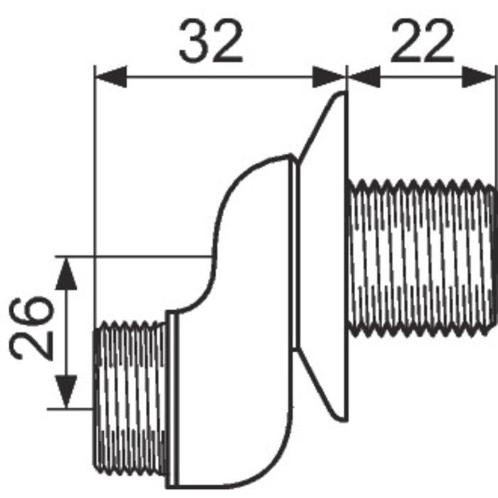 Raccord excentré - Mâle / Mâle - Excentration de 26 mm - Avec rosace-1