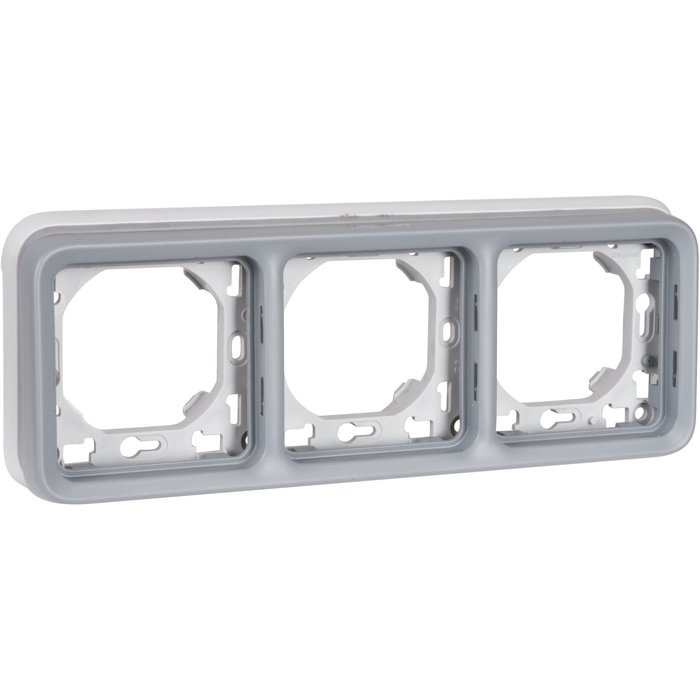 Support plaque horizontal Plexo IP55 - 3 postes - Appareillage composable - Gris-1