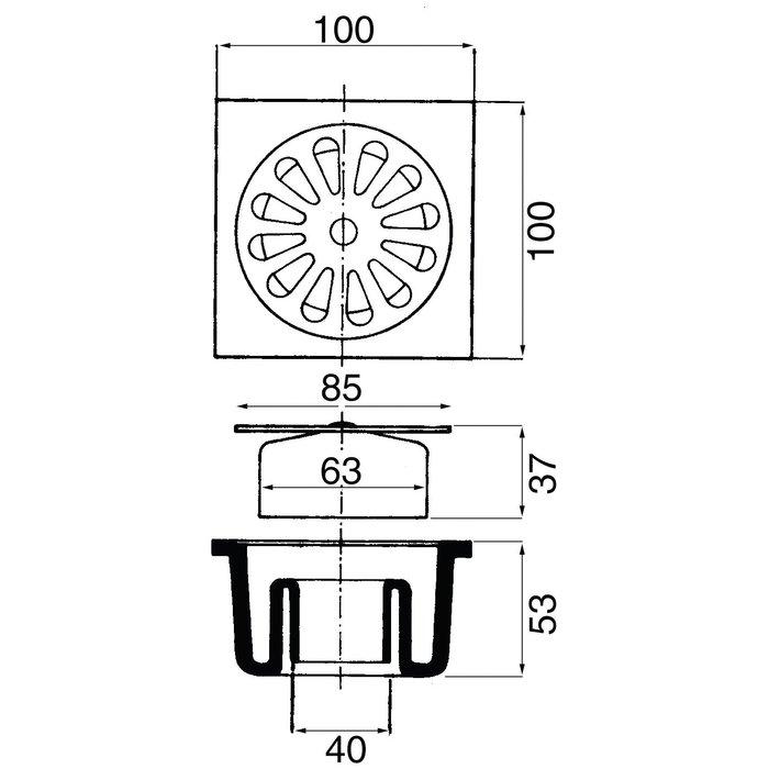 Siphon de sol PVC - Avec grille inox-1