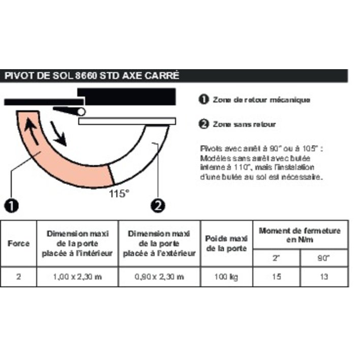Pivot de sol 8660 STD - Axe carré-1