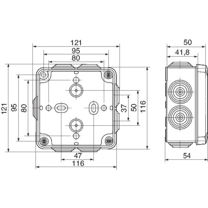 Boîte carrée 7 embouts à entrée directe Plexo-3