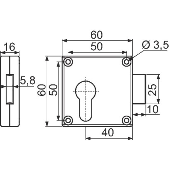 Serrure à larder à cylindre européen - Axe 38 mm-1