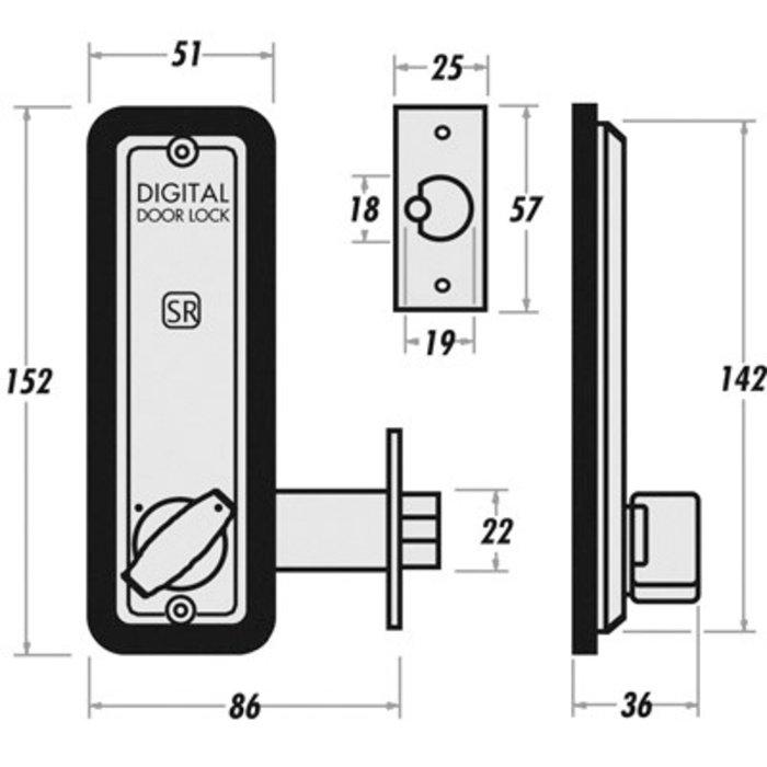 Serrure à code 2230 - À larder - Aluminium brossé-1