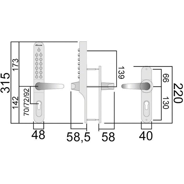 Serrure à code Keylex profil - Mécanique - Gris métal-1