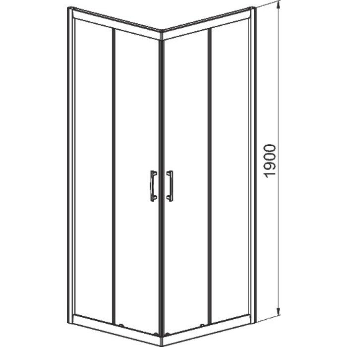 Porte de douche coulissante Tyxo - Accès d'angle - Verre transparent-1
