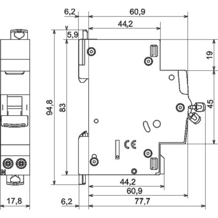 Disjoncteur DX³ 4500 - 6 kA - Courbe C - Protection des départs - 1 module-1