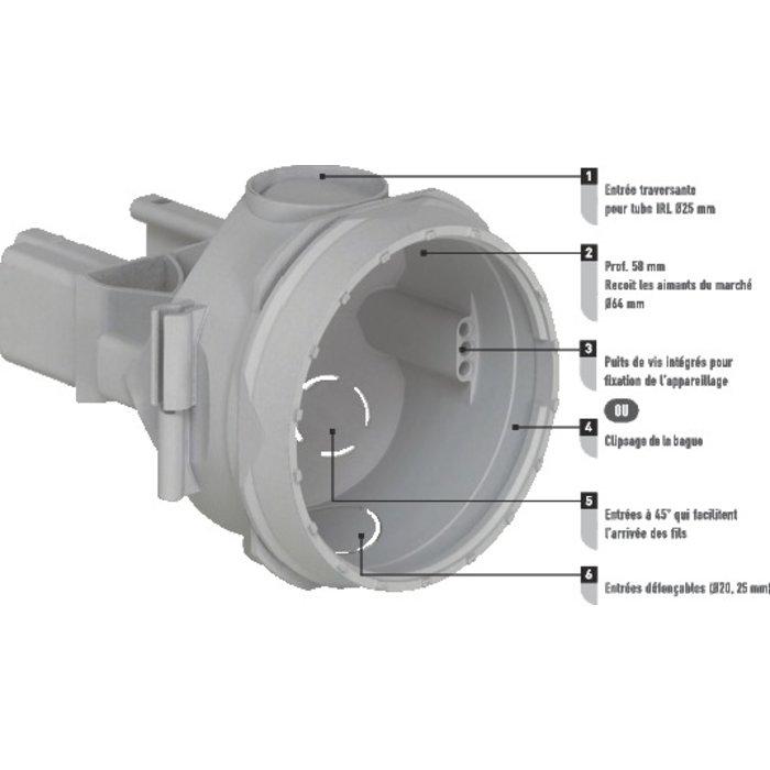 Boîte d'encastrement simple Batibox - Béton - 1 poste - Profondeur 58 mm-2