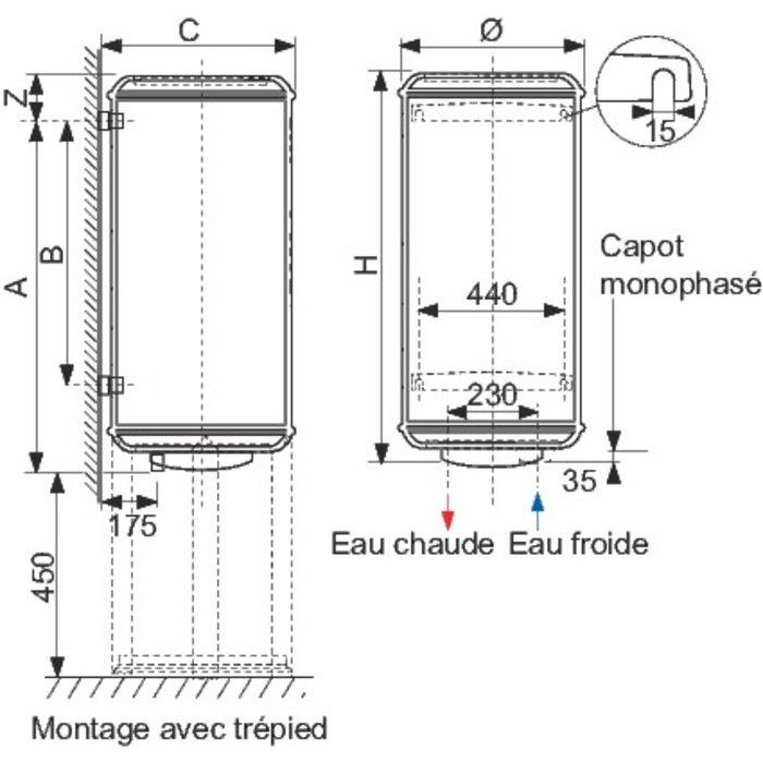 Chauffe-eau Chaufféo Plus vertical - Fixation murale-1