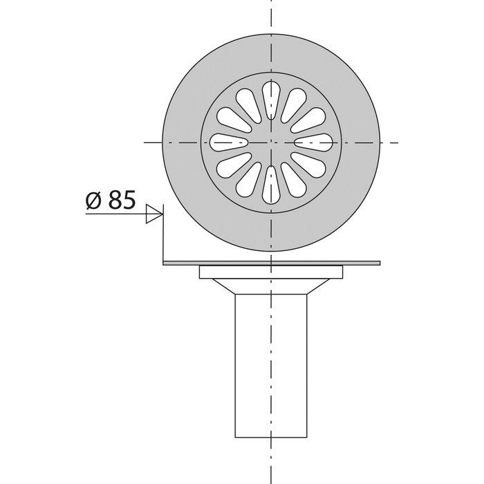 Grille de vidage avec tube pour tasse à collerette - Diamètre 85 mm-1