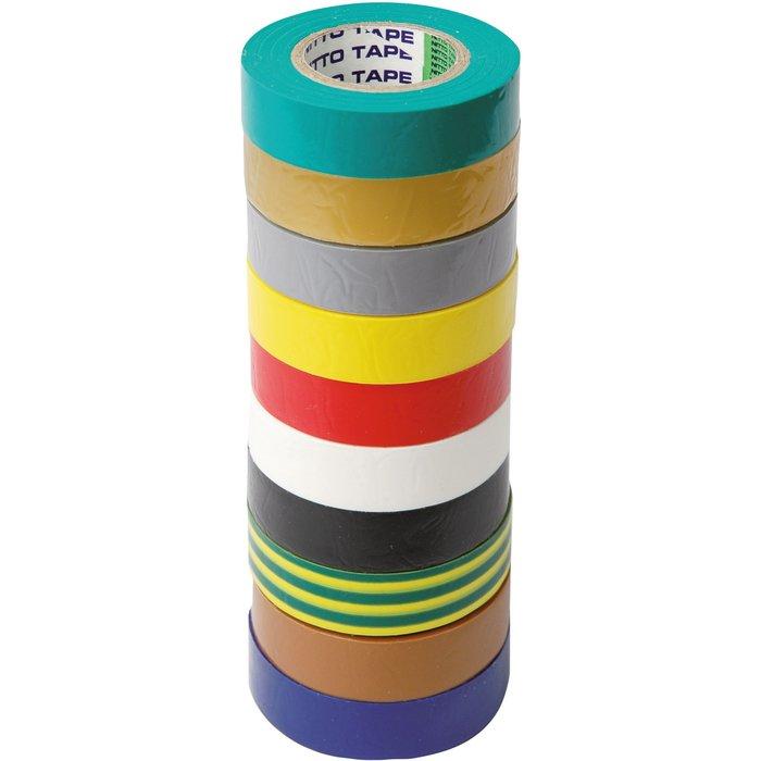 Assortiment de rubans adhésifs - Isolant électrique - 10 rouleaux