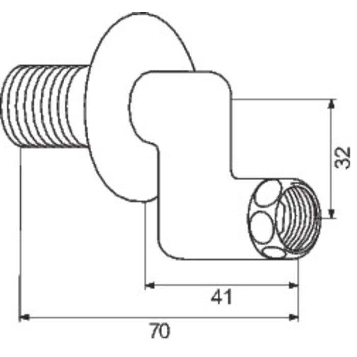 Raccord excentré - Mâle / Femelle - Excentration de 30 mm - Écrou tournant - Avec rosace-1