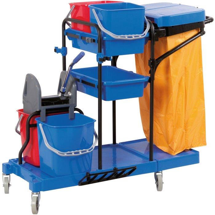 Chariot de ménage avec presse - 4 seaux - Capacité 2 x 15 l et 2 x 6 l-1
