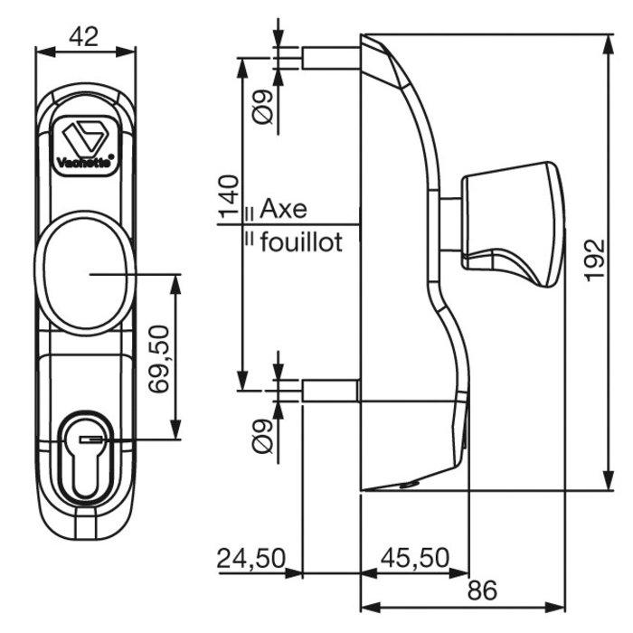 Module extérieur - À bouton tournant - Pour serrure anti-panique-1