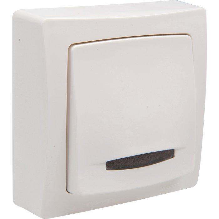 Interrupteur poussoir à voyant - Appareillage en saillie - Complet - Intensité 6 A - Blanc