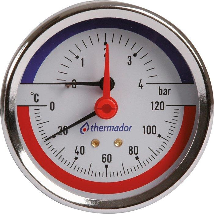 Manothermomètre à cadran axial - Gradué 0 à 120°C - Pression 0 à 4 bar