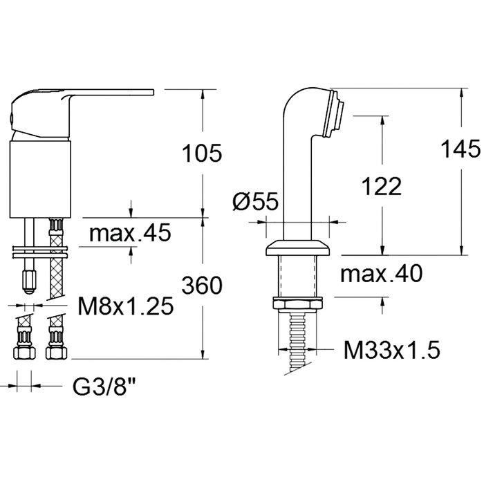 Mitigeur lavabo Pyla - Spécial coiffeur-1