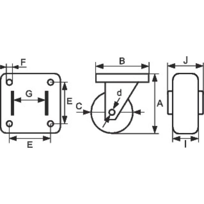 Roulette pivotante à cornière série S88-2