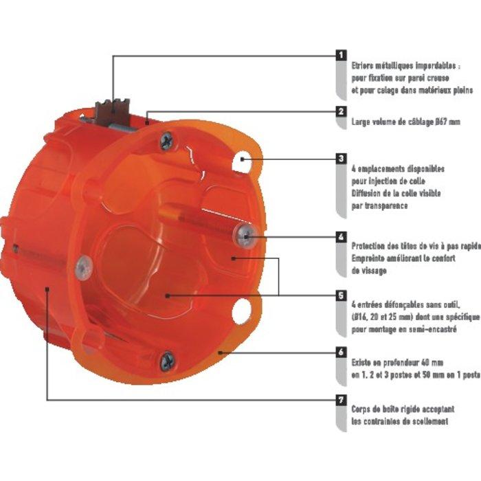 Boîte d'encastrement Batibox - Multimatériaux - 1 poste-1