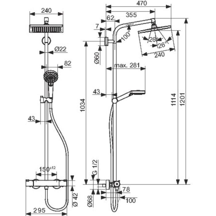 Colonne de douche Showerpipe Crometta E 240-1