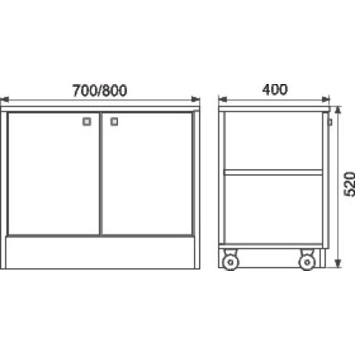 Caisson roulant pour meuble salle de bain Altéa-1