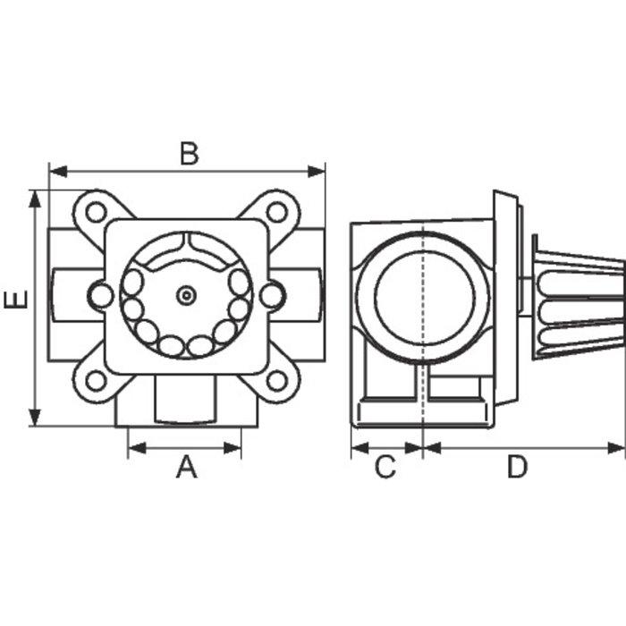 Vanne mélangeuse à secteur - 3 voies - Laiton - Femelle / Femelle-1