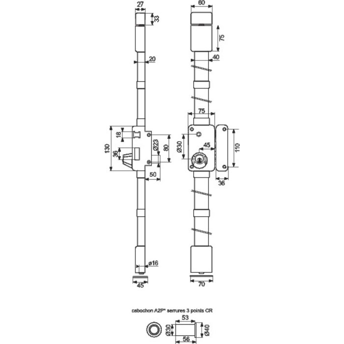 Serrure en applique à fouillot Beluga CP A2P* - Axe 45 mm-1