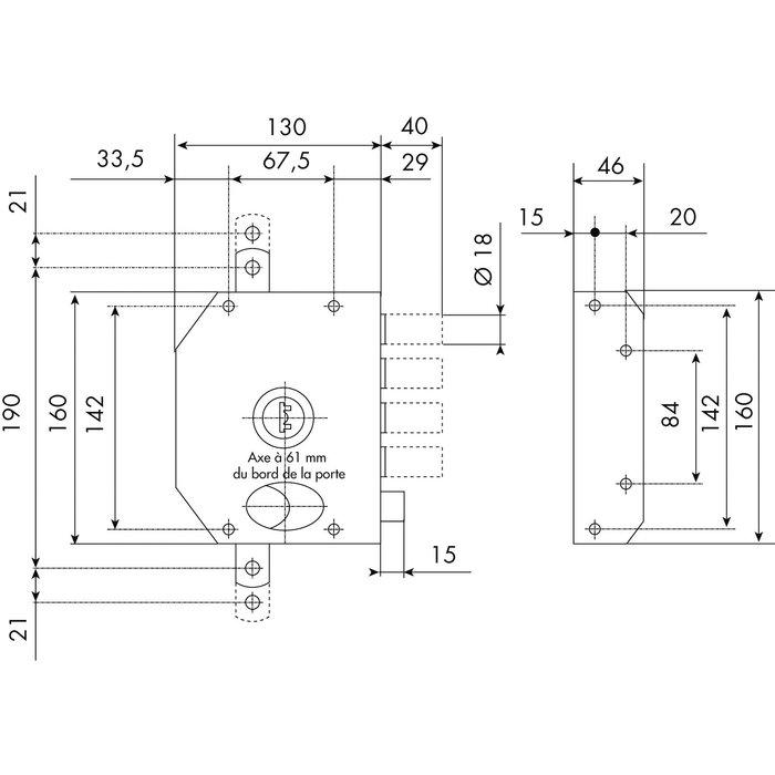 Serrure en applique à tirage City Perfect HB3 A2P* - Époxy marron - Axe 61 mm-1