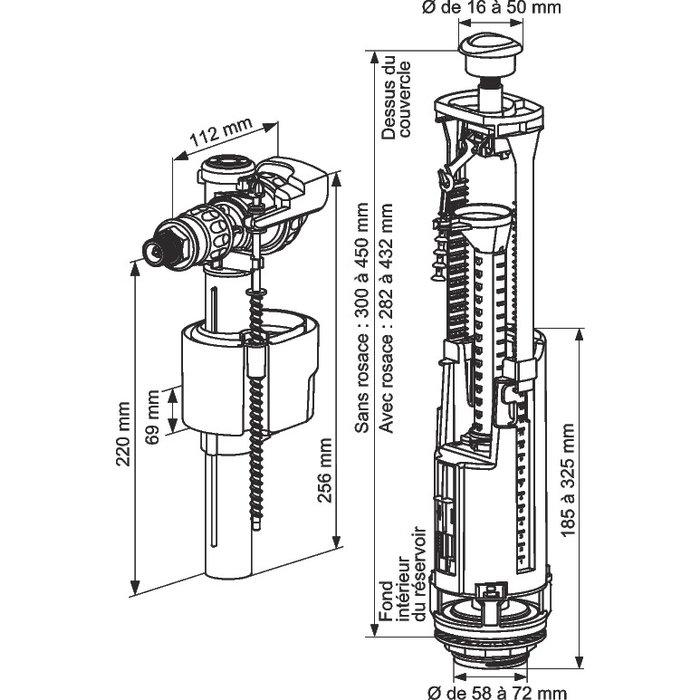 Mécanisme de WC Optima S - Robinet Quieto-1