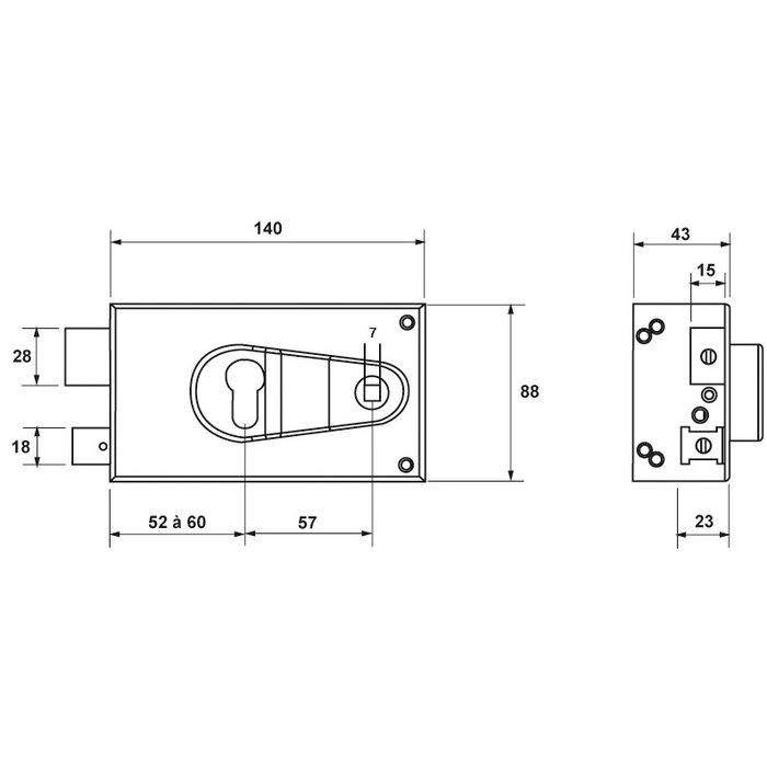 Serrure de sûreté en applique ND10 - À fouillot-1