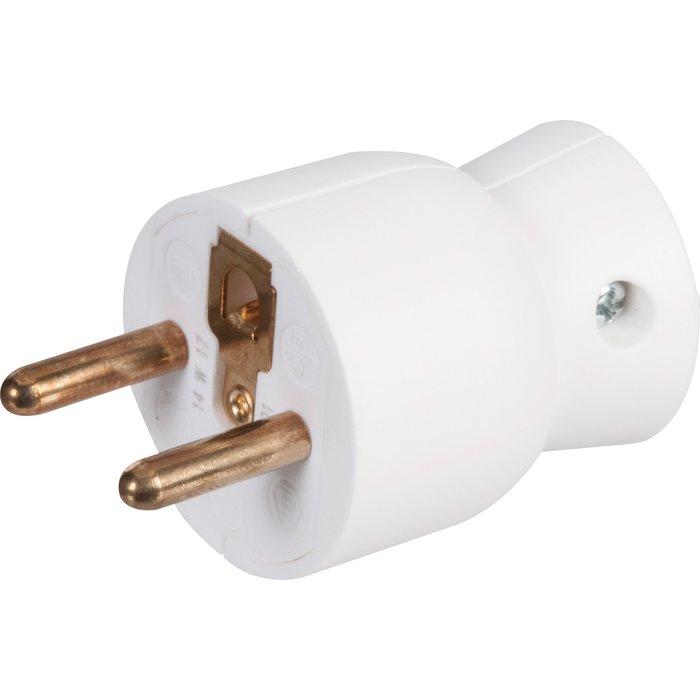 Fiche électrique 2P+T - Sortie latérale - Plastique - Blanc