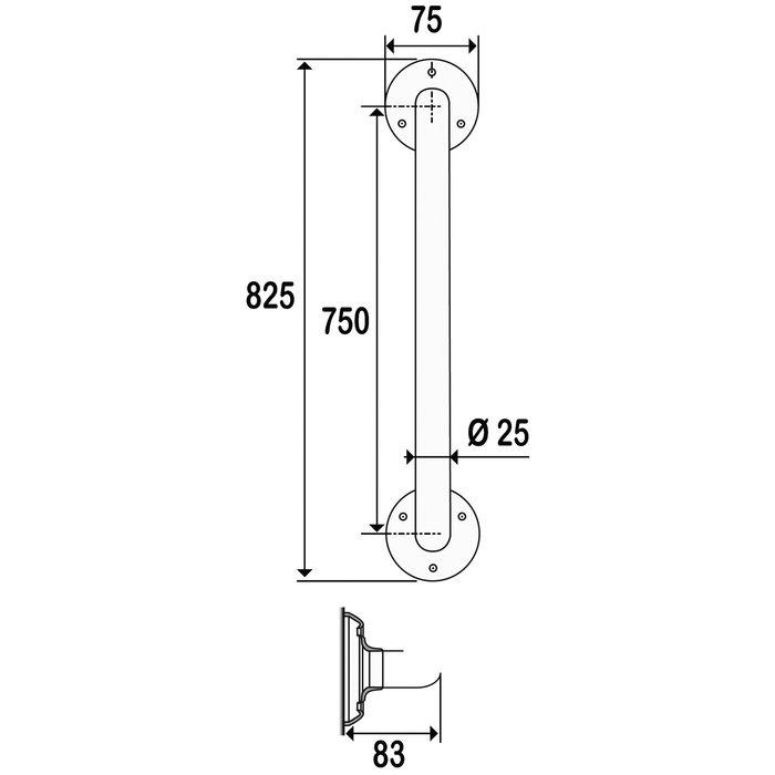 Barre d'appui droite - Diamètre 25 mm-1