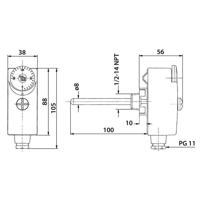 Aquastat plongeant à réglage externe - Simple-1