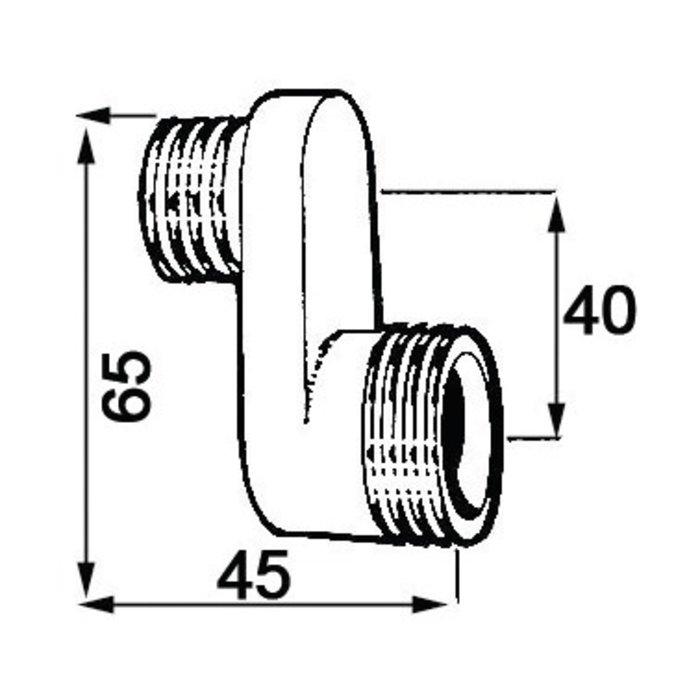 Raccord excentré - Mâle / Mâle - Excentration de 40 mm-1
