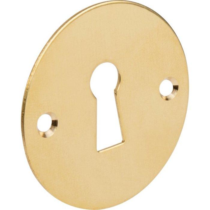 Rosace ronde et plate pour poignée de porte - Laiton poli-1