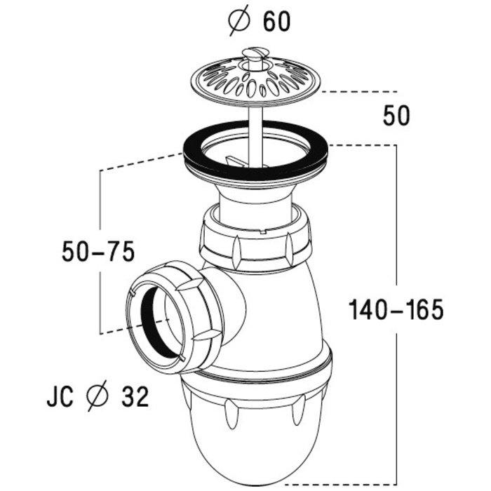 Ensemble bonde et siphon pour urinoir-1