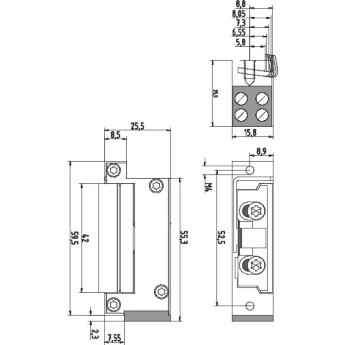 Gâche électrique modèle Roureg Mini-1
