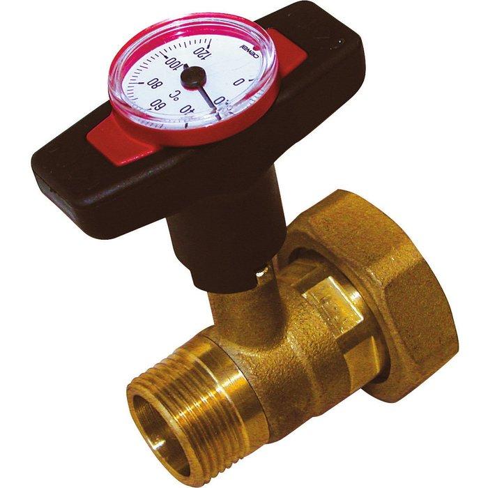 Vanne avec thermomètre intégré - Mâle / Femelle - Gradué 0 à 120°C