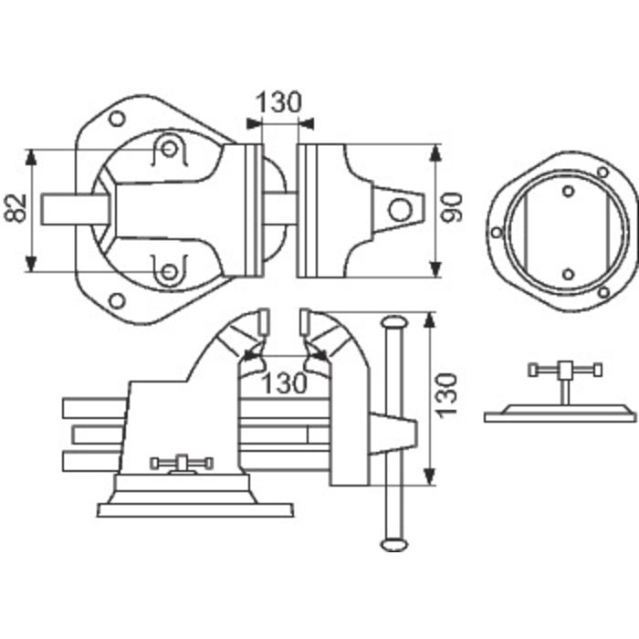Étau double guidage - Mâchoire 90 mm-1