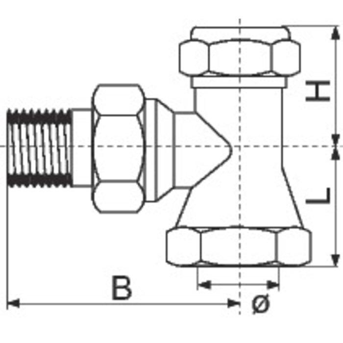 Coude de réglage pour radiateur SAR - Équerre - Femelle-1