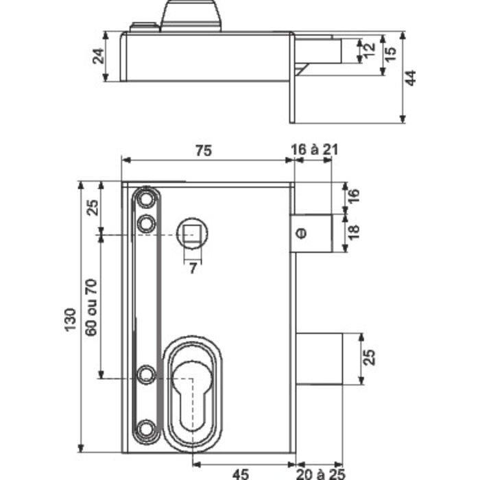 Serrure en applique à fouillot ND10 - Modulable - Axe 45 mm-2