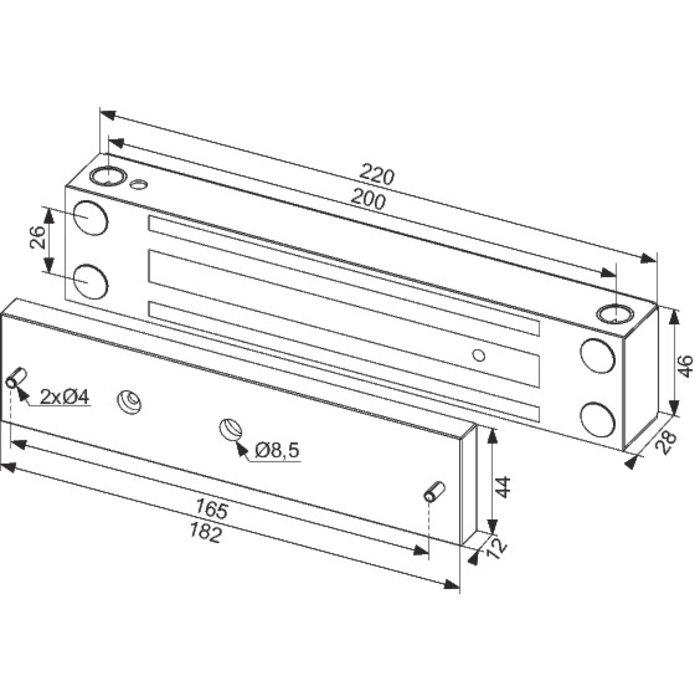 Ventouse électromagnétique 370 daN - En applique - Tension 24 V - Inox-1