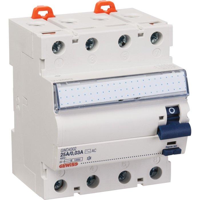 Interrupteur différentiel - Tétrapolaire - Sensibilité 30 mA - Protection des départs