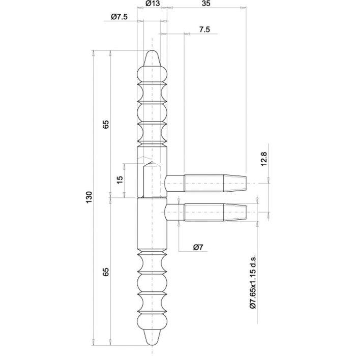 Fiche à visser - Nœuds à double vases - Hauteur 130 mm-1