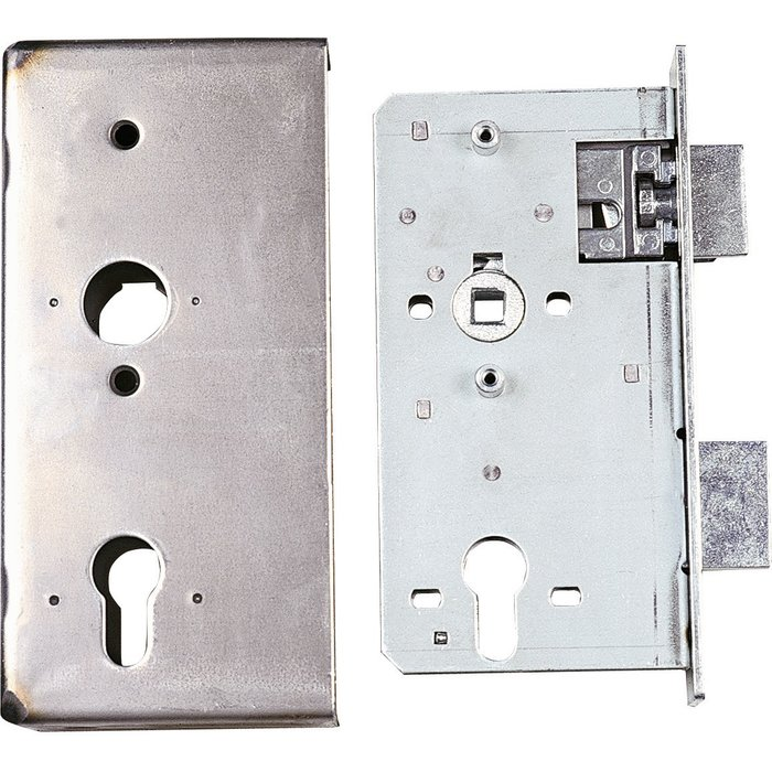 Serrure de sûreté pour portail - Avec boîtier à souder - Axe 55 mm